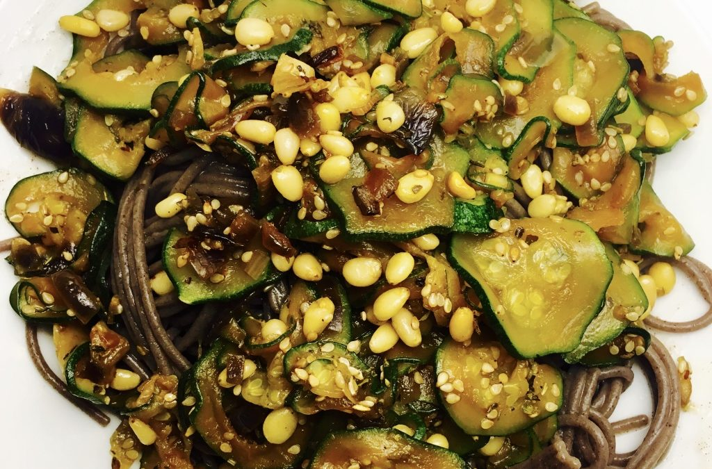 Buckwheat Pasta with Courgettes, Pine Nuts and Tamari