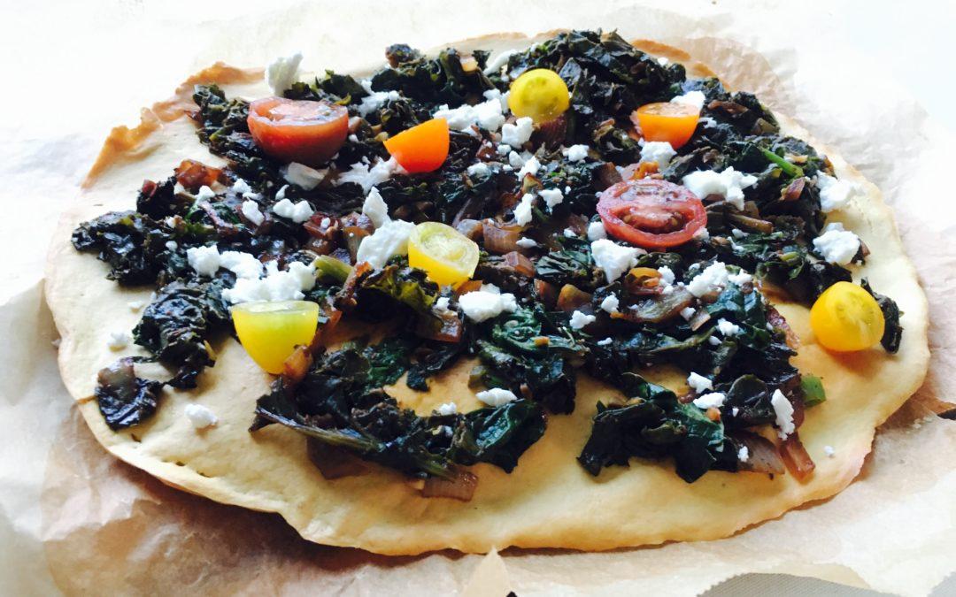 Pizza aux légumes à base de pois chiches